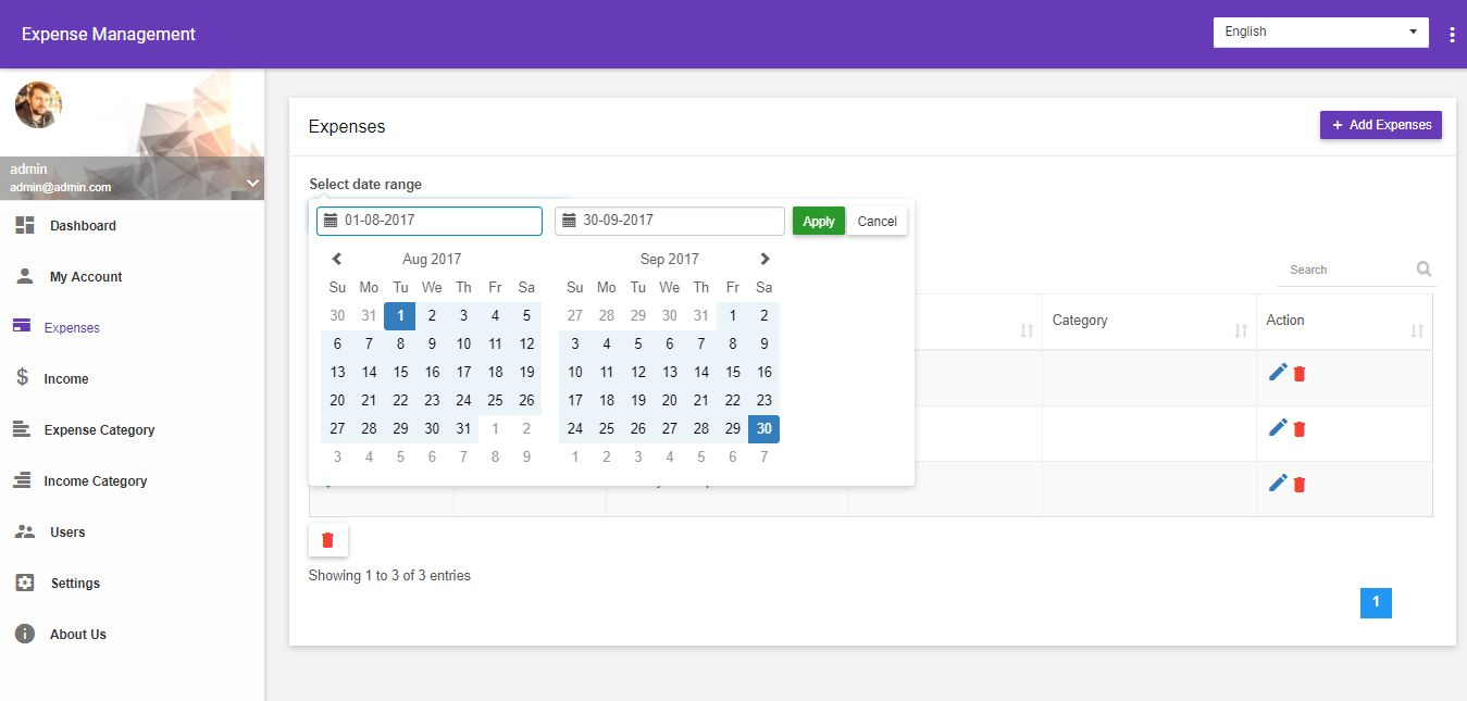 Expense Management system PHP Script Screenshot 3