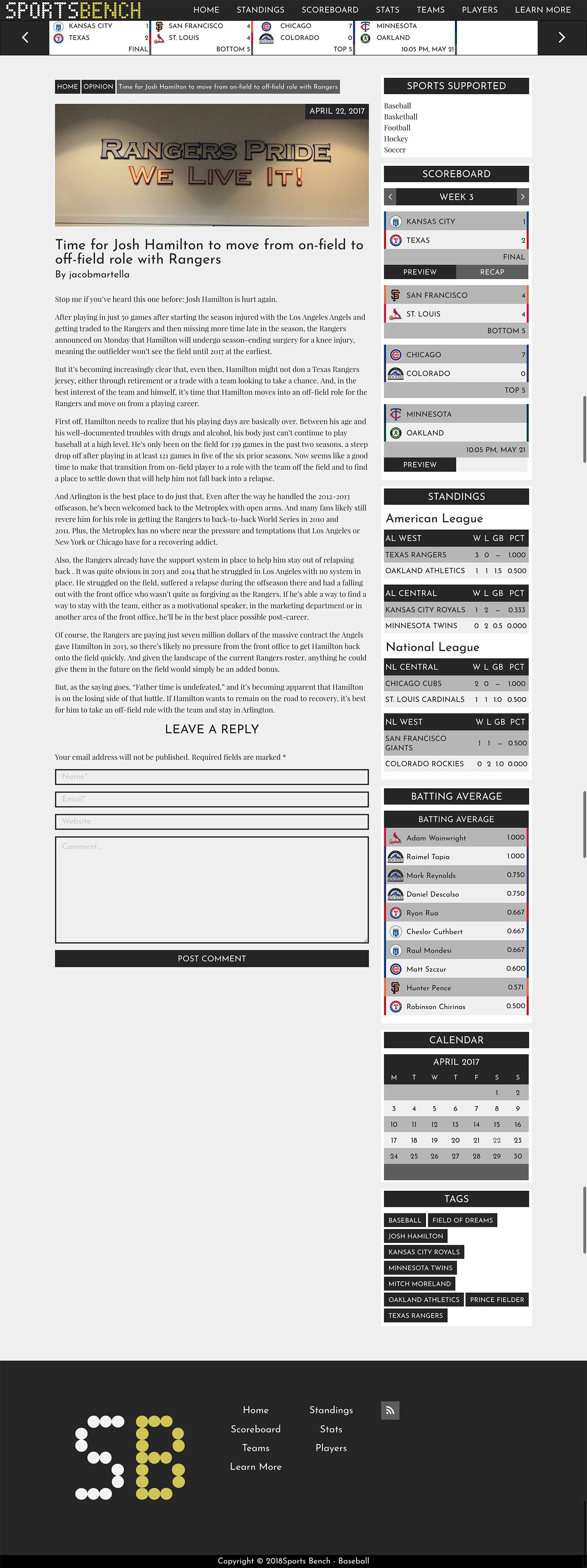 Sports Bench - WordPress Sports Stats Plugin Screenshot 21