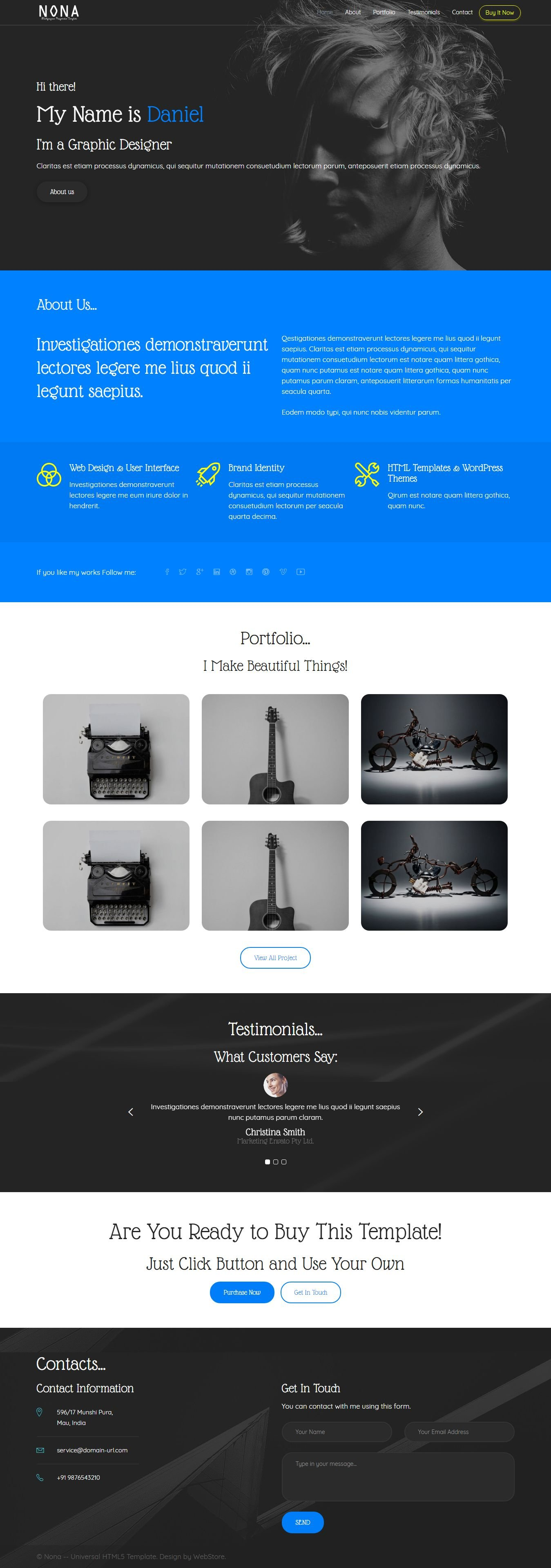 Nona - Multipurpose HTML5 Template - HTML Portfolio Website ...