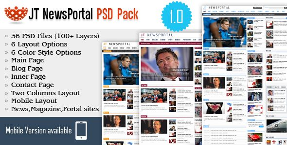 JT News Portal PSD Pack Screenshot 1