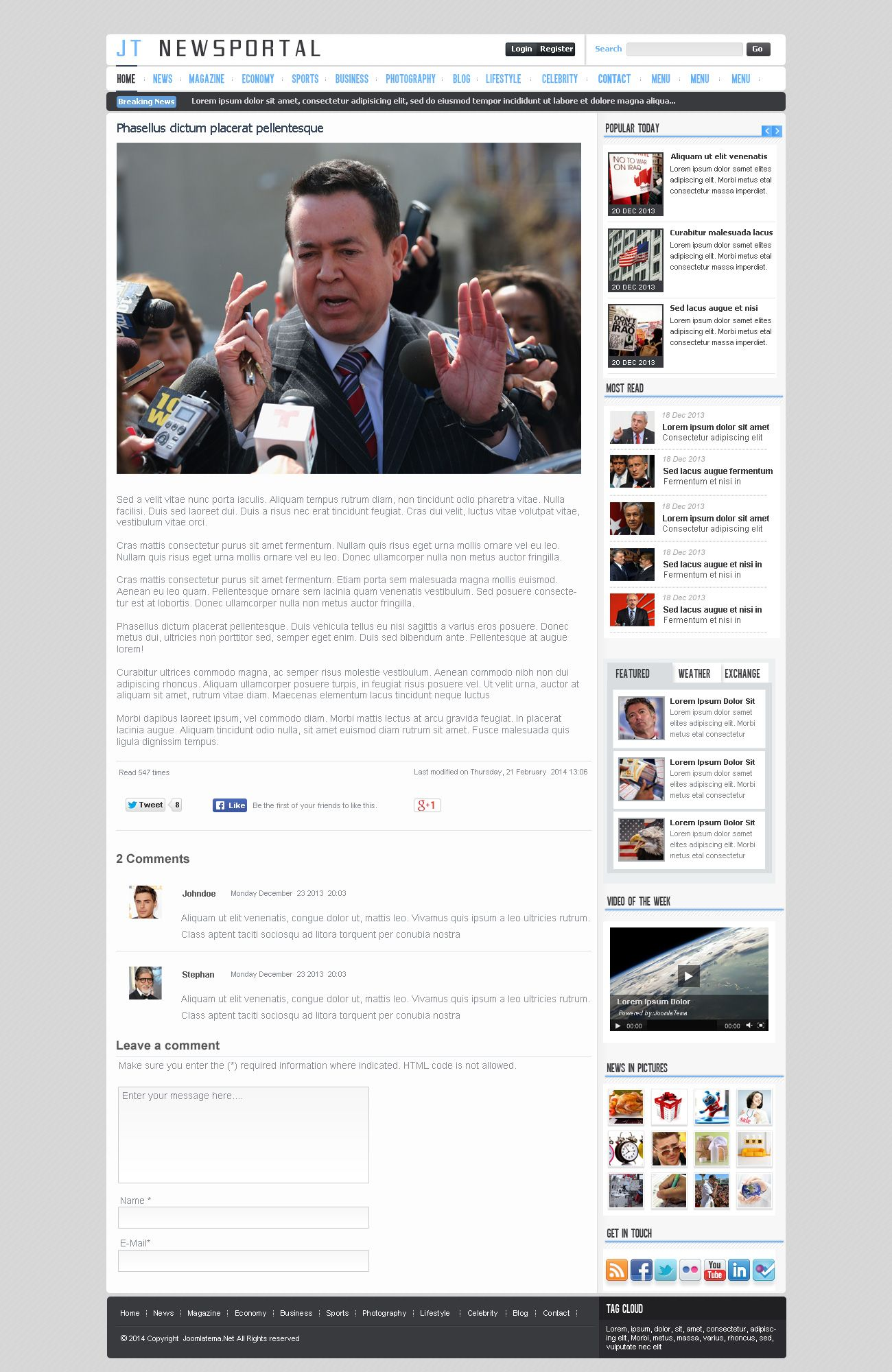 JT News Portal PSD Pack Screenshot 5