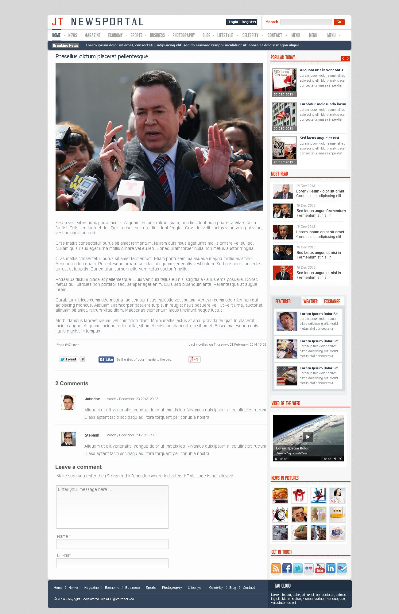 JT News Portal PSD Pack Screenshot 11