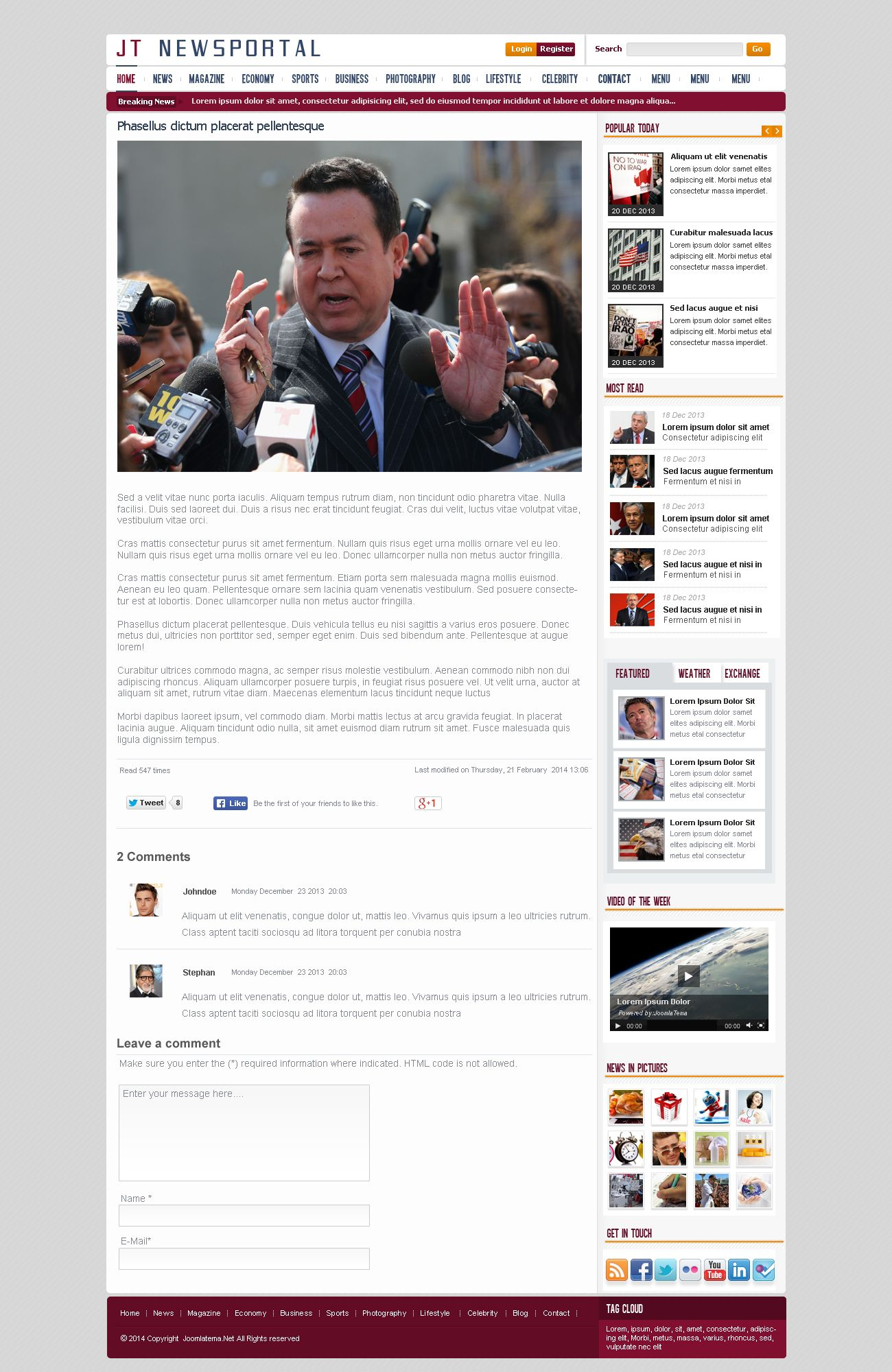 JT News Portal PSD Pack Screenshot 17