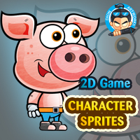 Piggy 2D Game Character Sprites