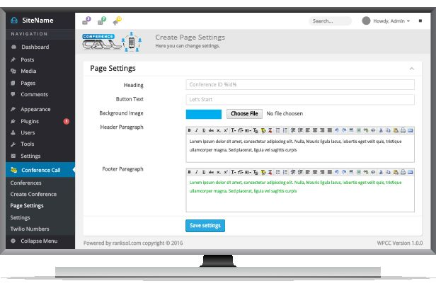 Conference Calling Wordpress Plugin For Business Screenshot 3
