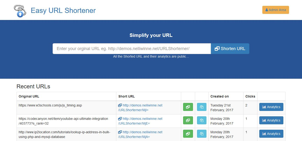 Easy URL Shortener With Analytics - PHP MySQL Screenshot 1