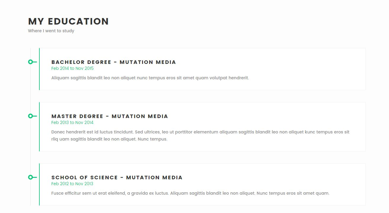 Meraki One Page Resume Wordpress Theme Wordpress Resume Themes