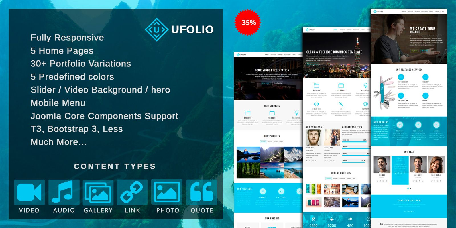 Ufolio - Portfolio Joomla Template Screenshot 1