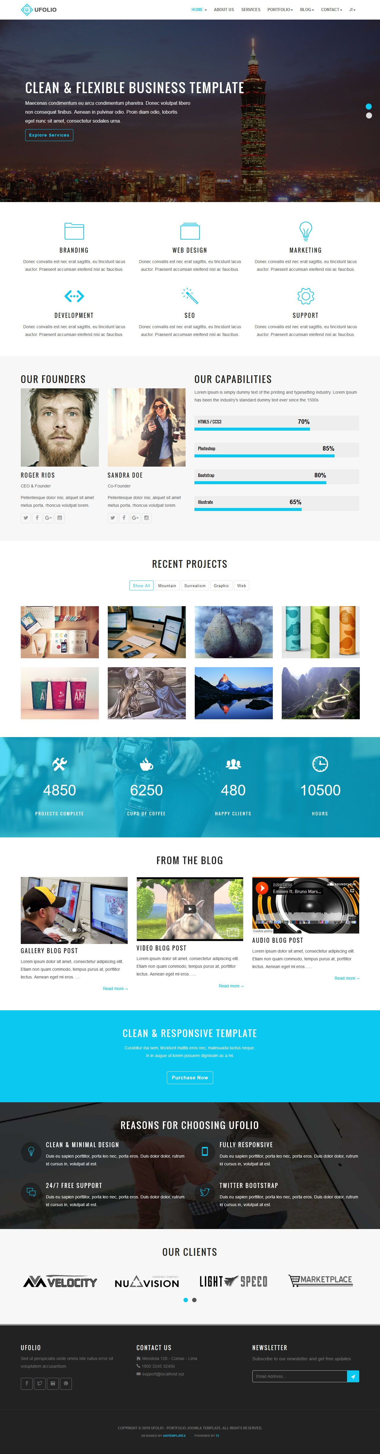 Ufolio - Portfolio Joomla Template Screenshot 2