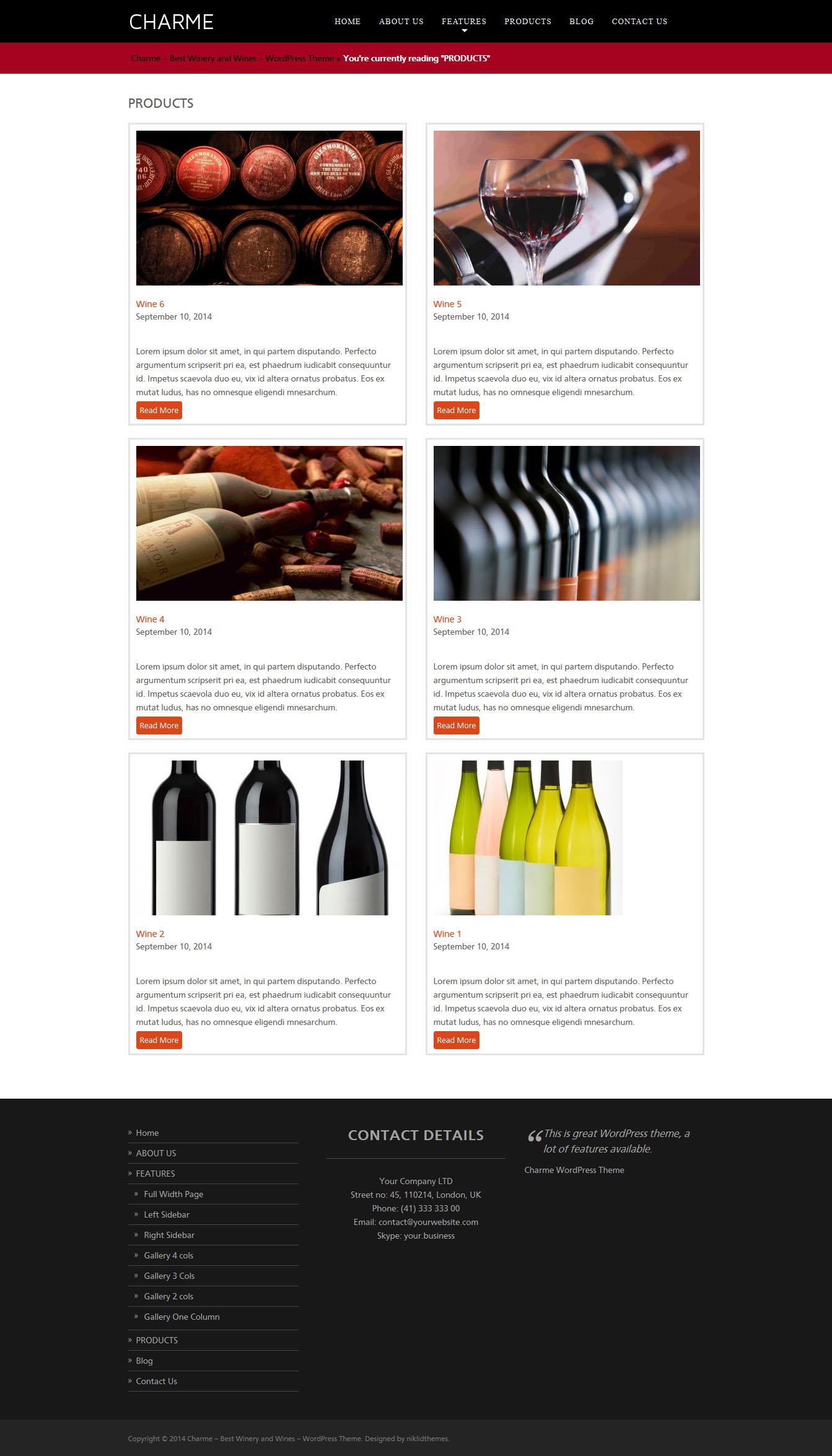 Charme Winery And Wines Wordpress Theme Wordpress