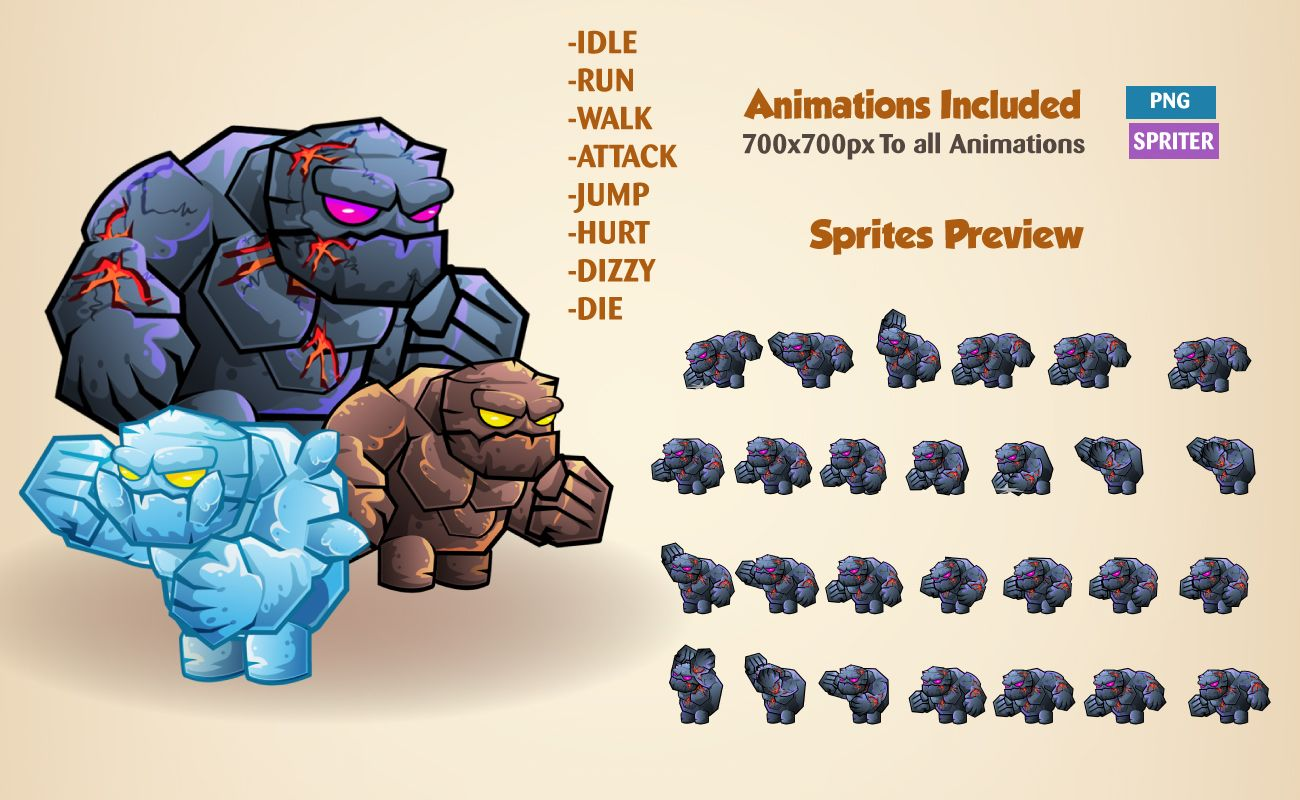 Stone Giants Game Sprites Screenshot 2