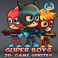 Super Boys 2D Game Sprites