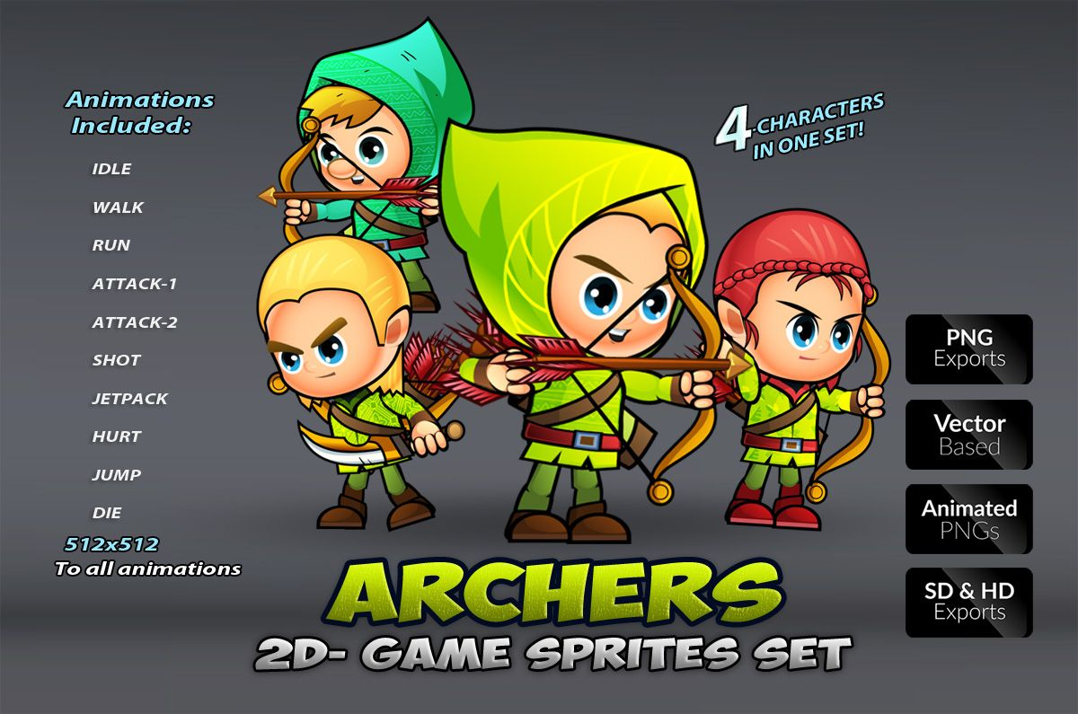 Archers 2D Game Sprites Set Screenshot 1