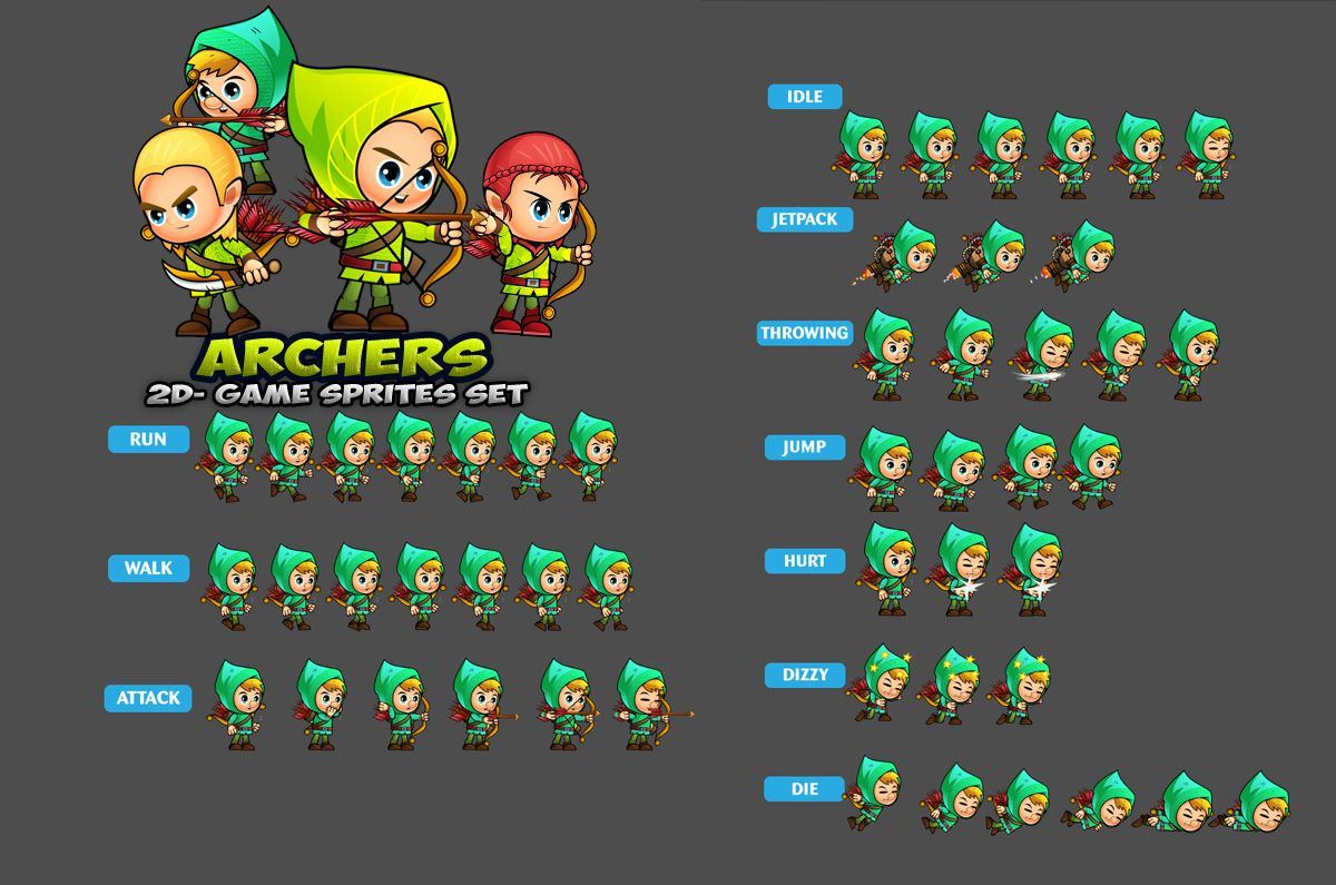 Archers 2D Game Sprites Set Screenshot 2