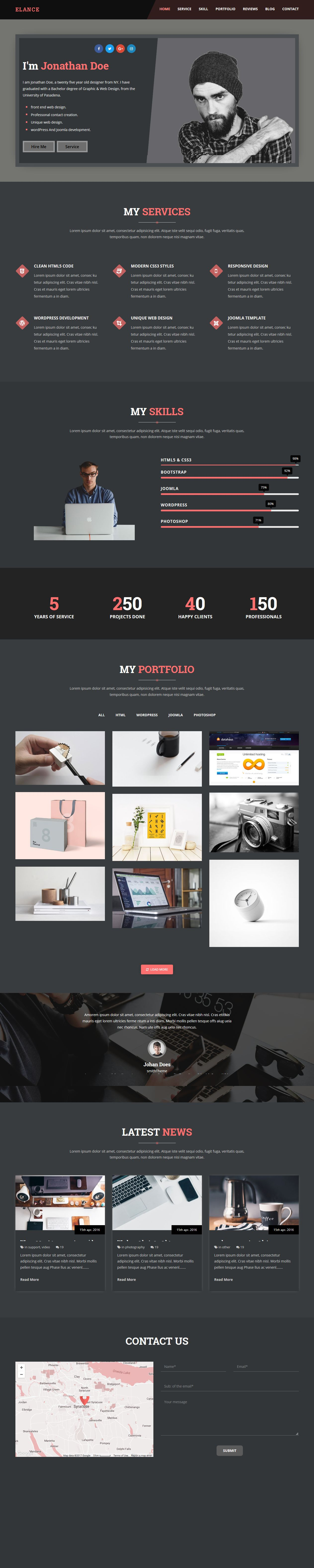 Elance - Personal Portfolio One Page Template Screenshot 1