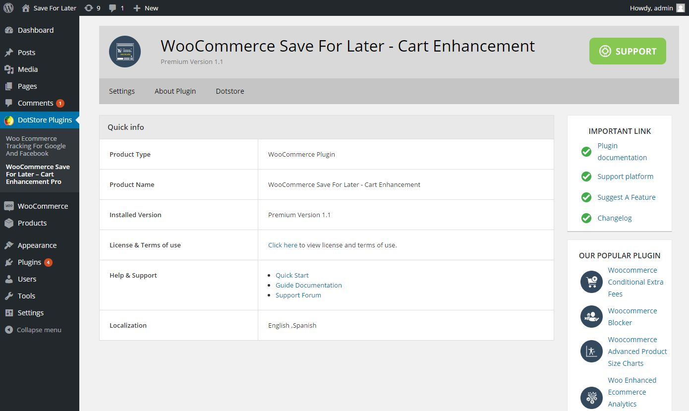 WooCommerce Save For Later Cart Enhancement Screenshot 1