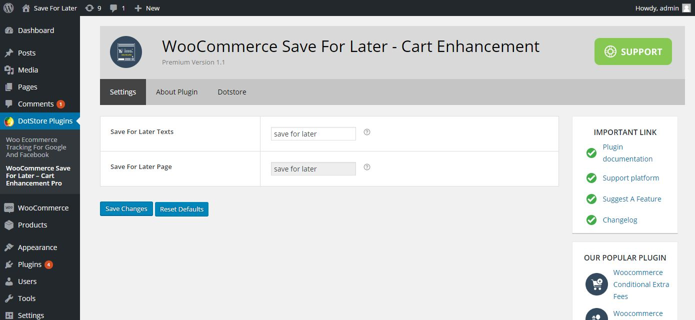 WooCommerce Save For Later Cart Enhancement Screenshot 3
