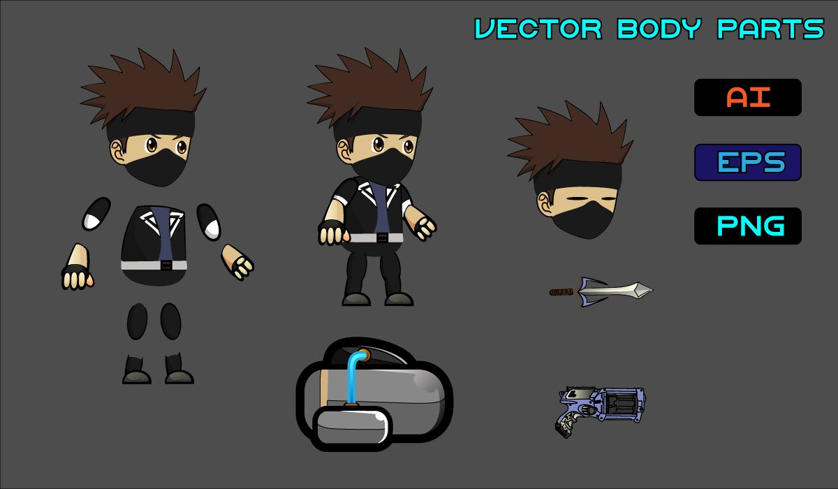 Masked Boy 2D Game Character Sprite Screenshot 3