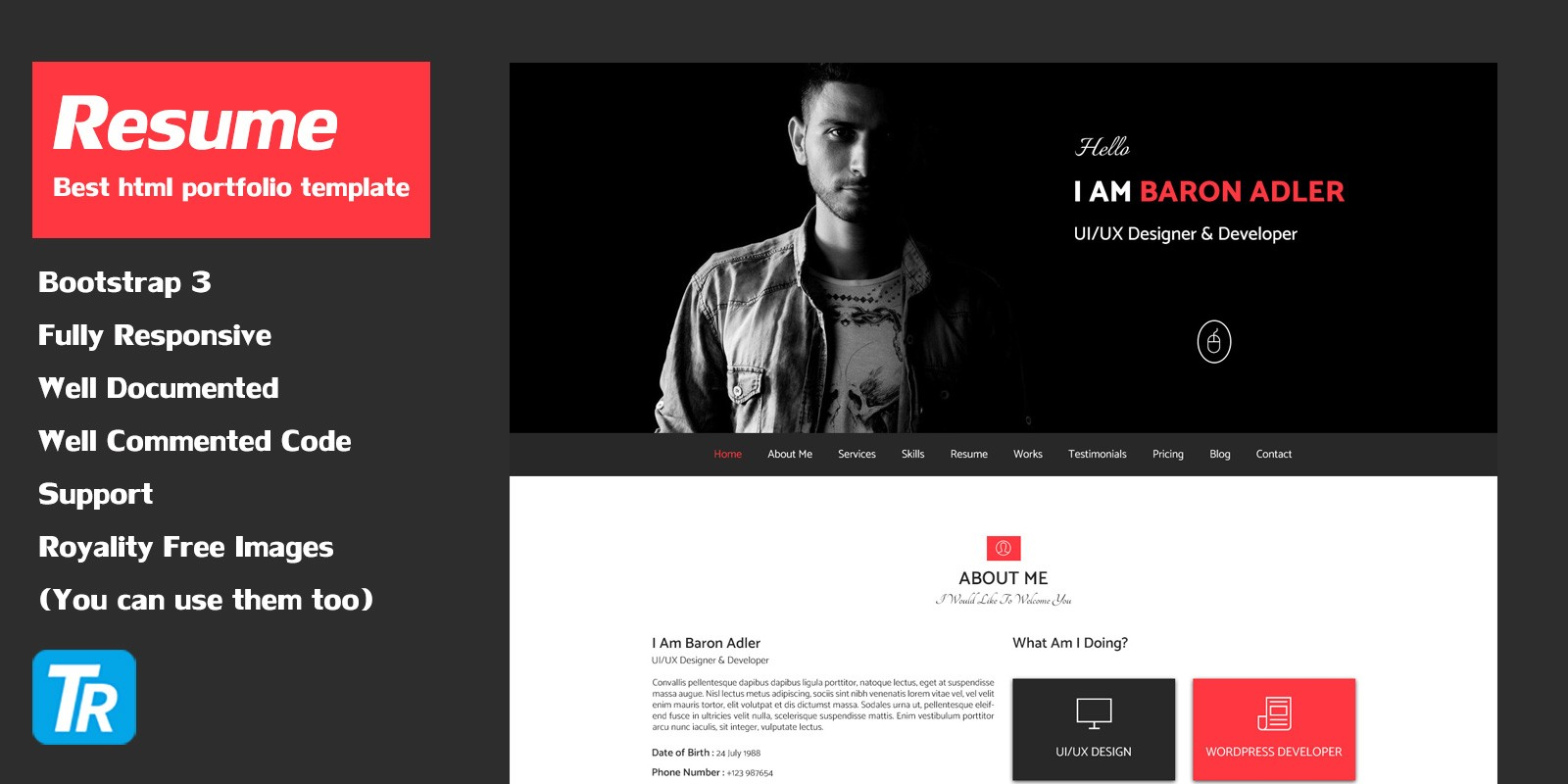 resume personal portfolio web template html resume website templates codester. Black Bedroom Furniture Sets. Home Design Ideas