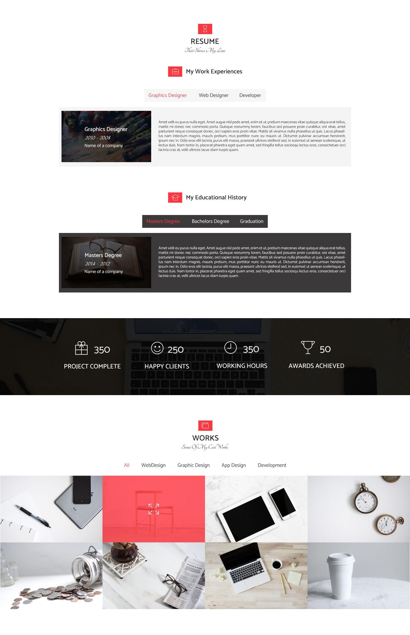 resume personal portfolio web template html resume