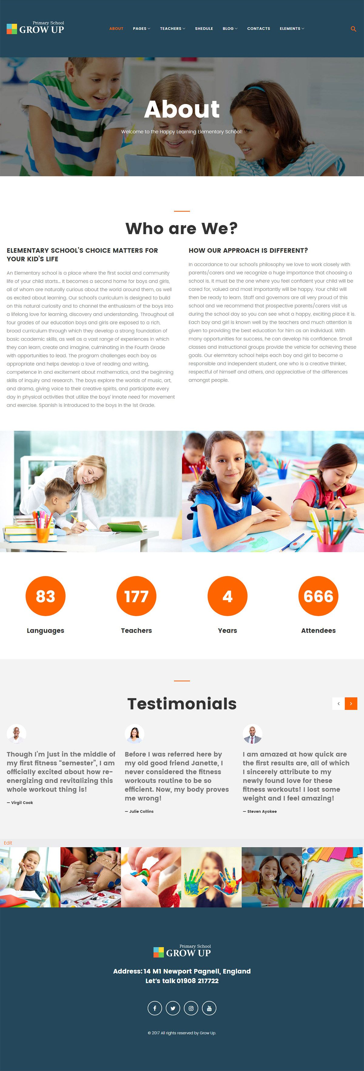 Grow Up Primary School WordPress Theme Screenshot 2