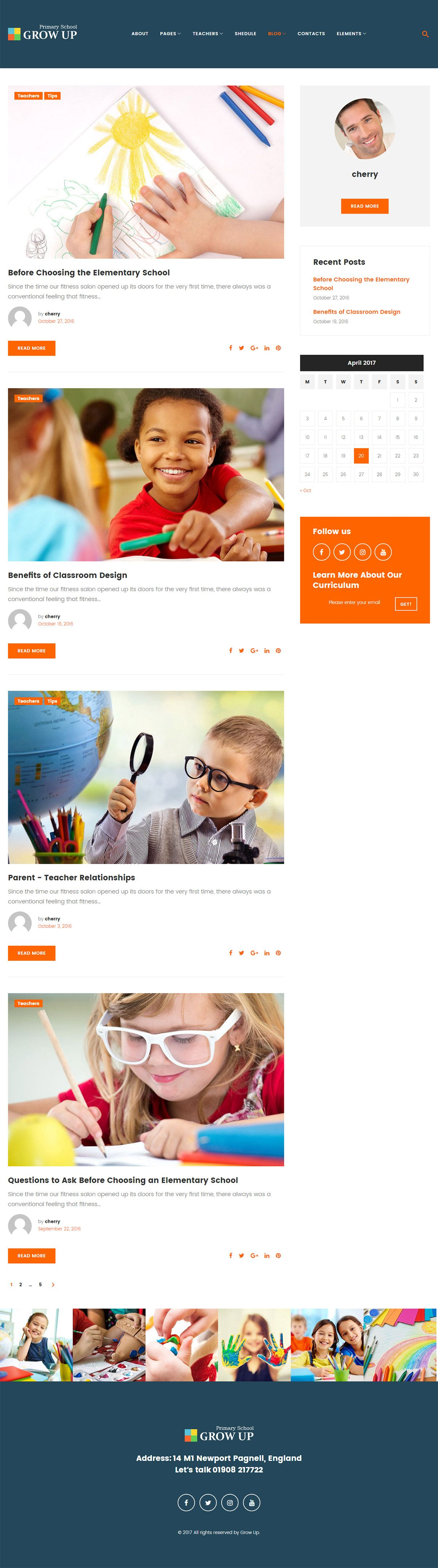 Grow Up Primary School WordPress Theme Screenshot 3