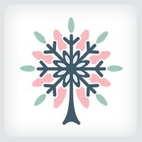Snowflake Tree Logo Template