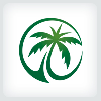 Green Palm Tree Logo Template