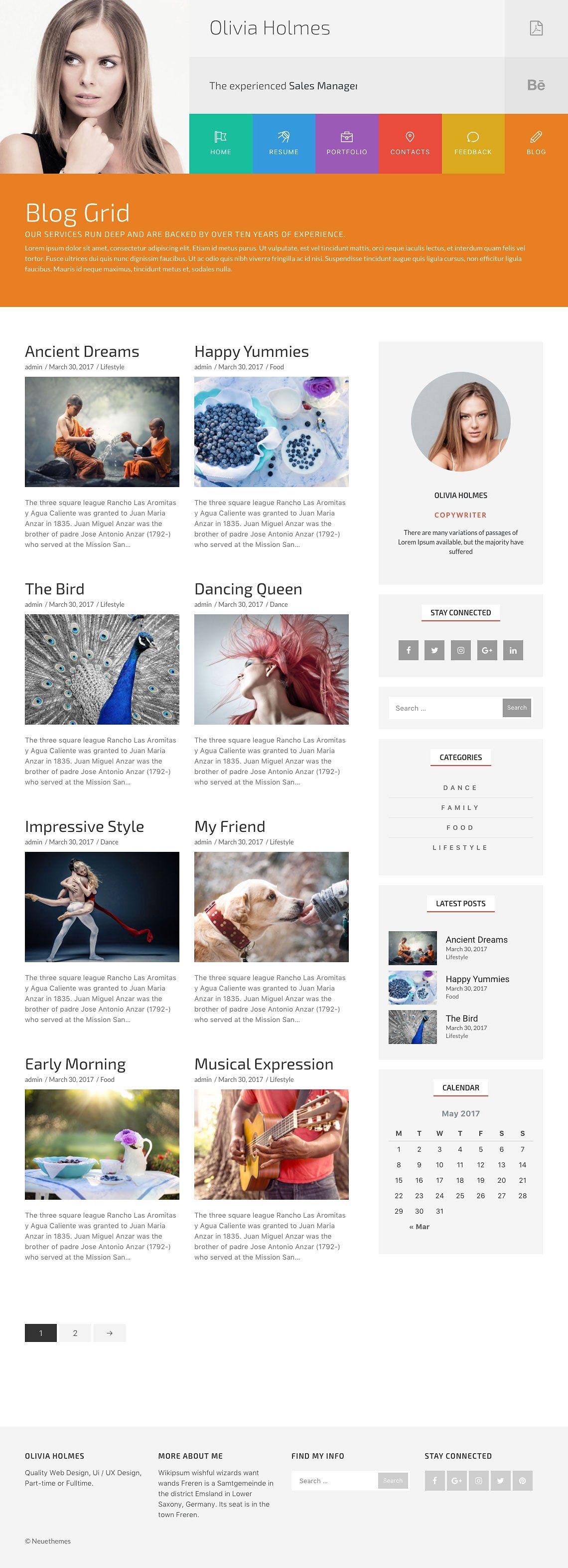 olivia resume and portfolio wordpress theme screenshot 6