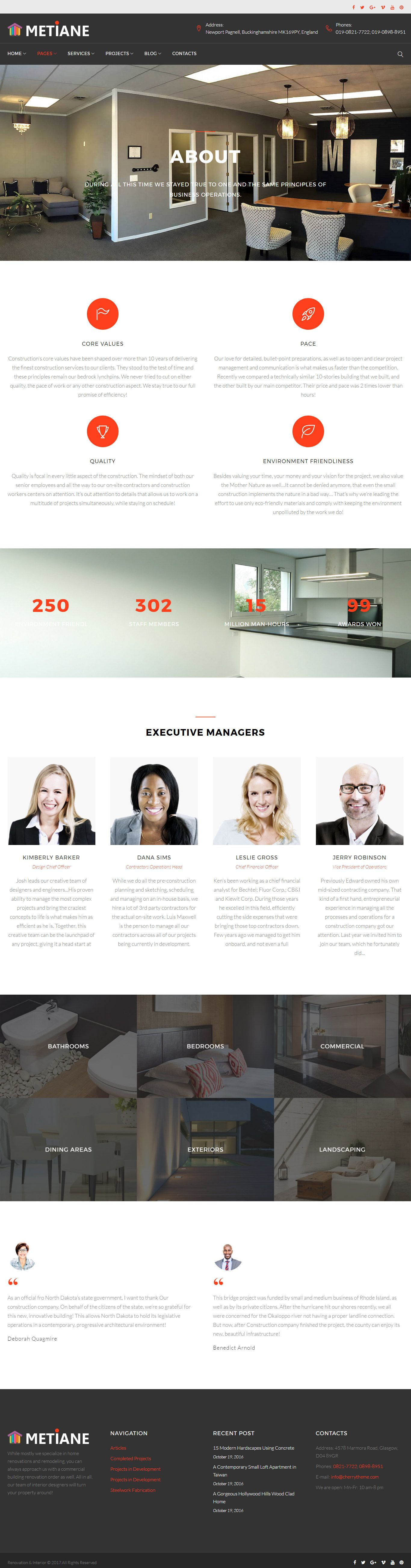 Metiane - Interior Design Wordpress Theme Screenshot 1