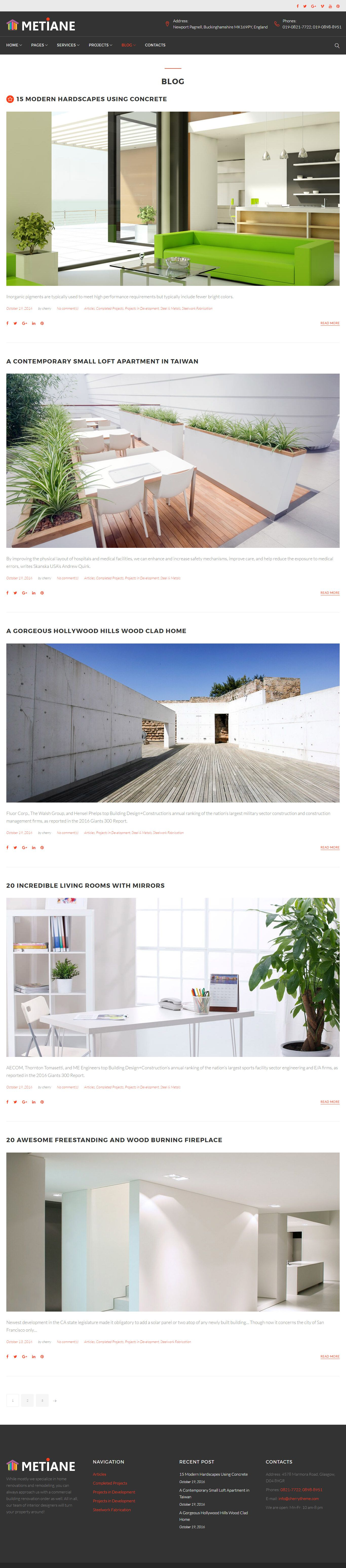 Metiane - Interior Design Wordpress Theme Screenshot 2