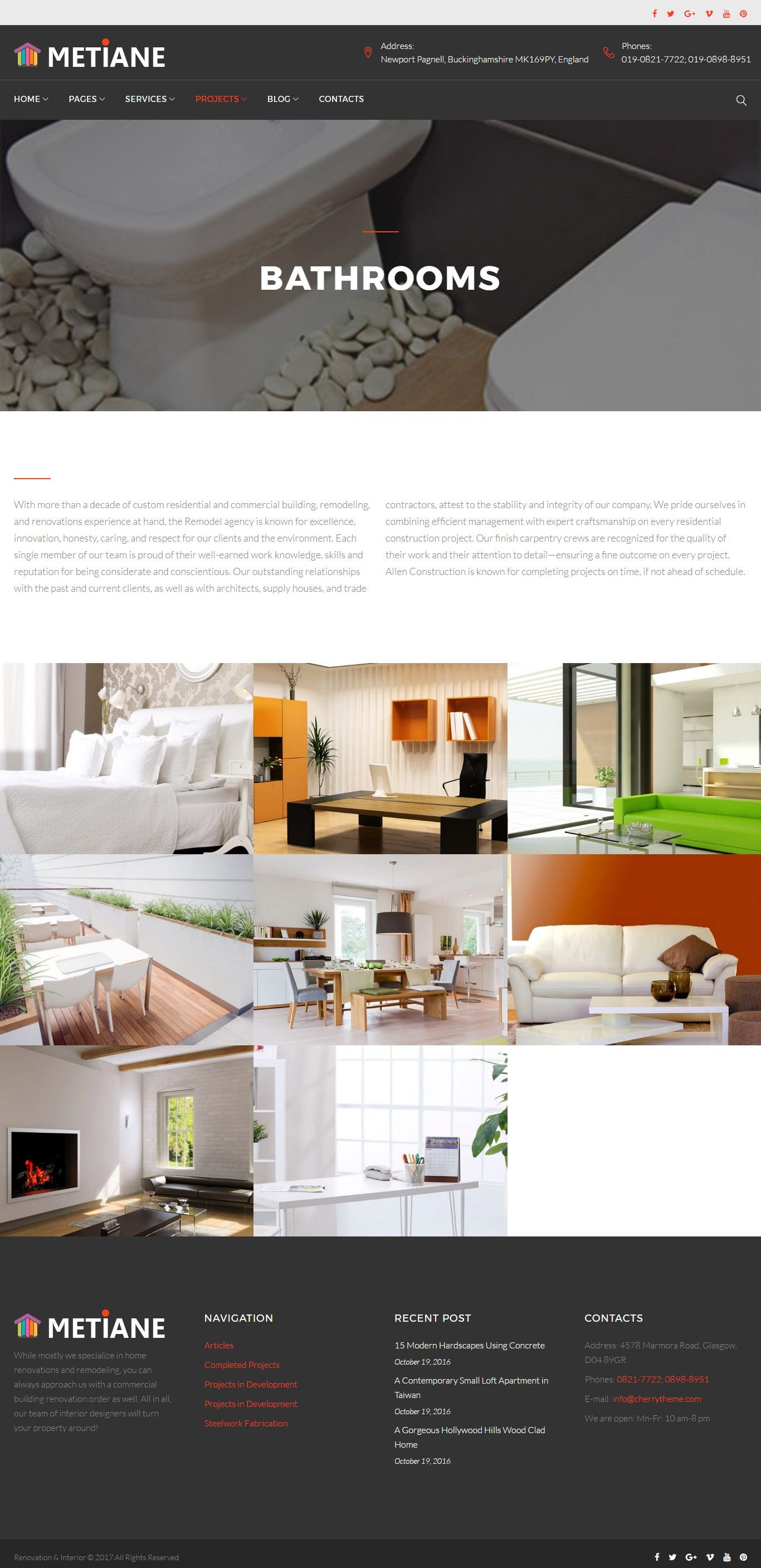 Metiane interior design wordpress theme codester for Interior design wordpress theme