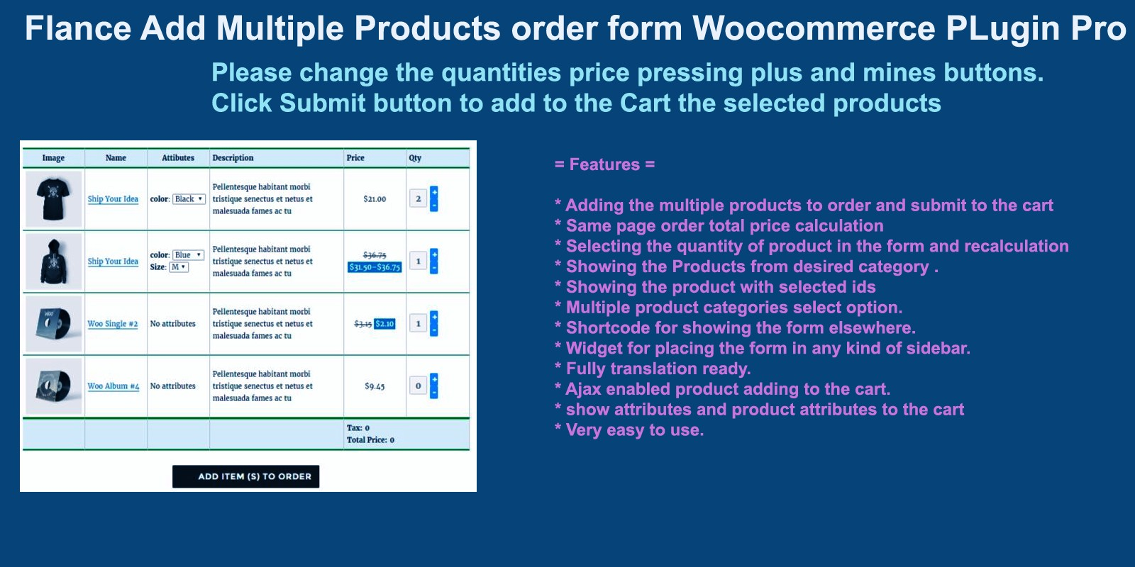 Best woocommerce for product with multiple options