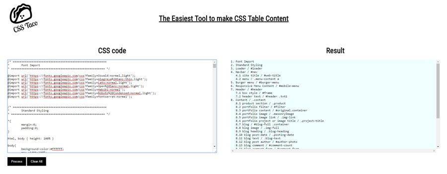 CSS Taco - CSS Table Content Creator Screenshot 1