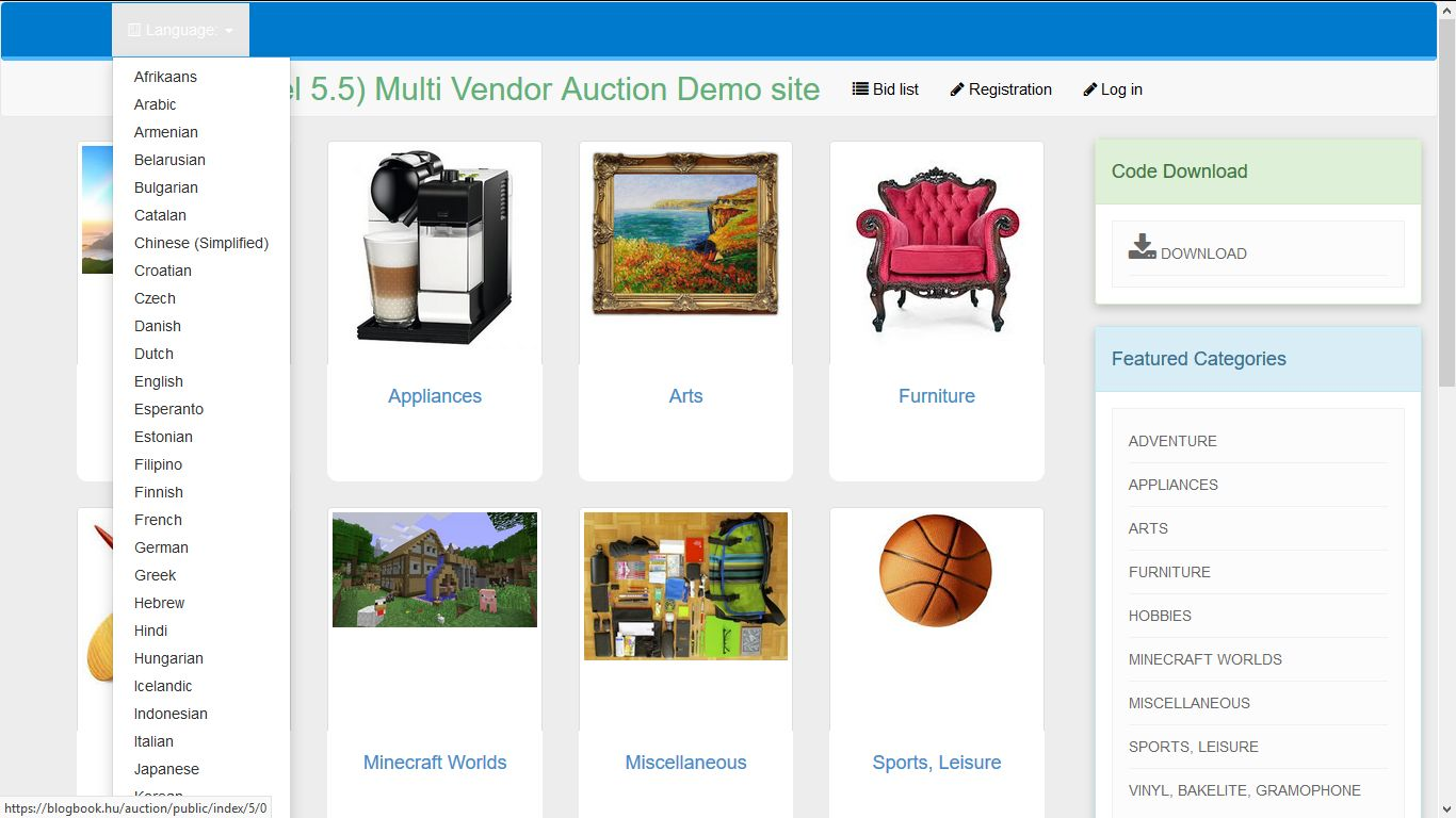 PHP Laravel Auction - Multi-vendor Auction Script Screenshot 1