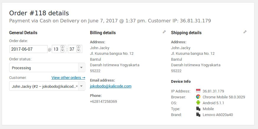 Customer Device Info - WooCommerce Plugin Screenshot 1