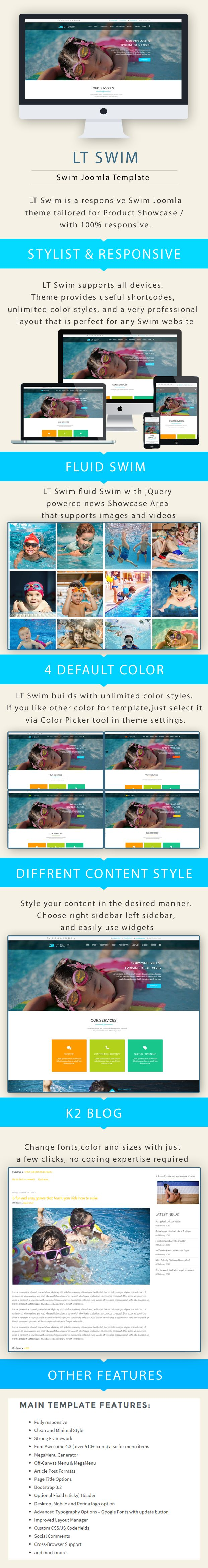 LT Swim – Swimming School Joomla  template Screenshot 1