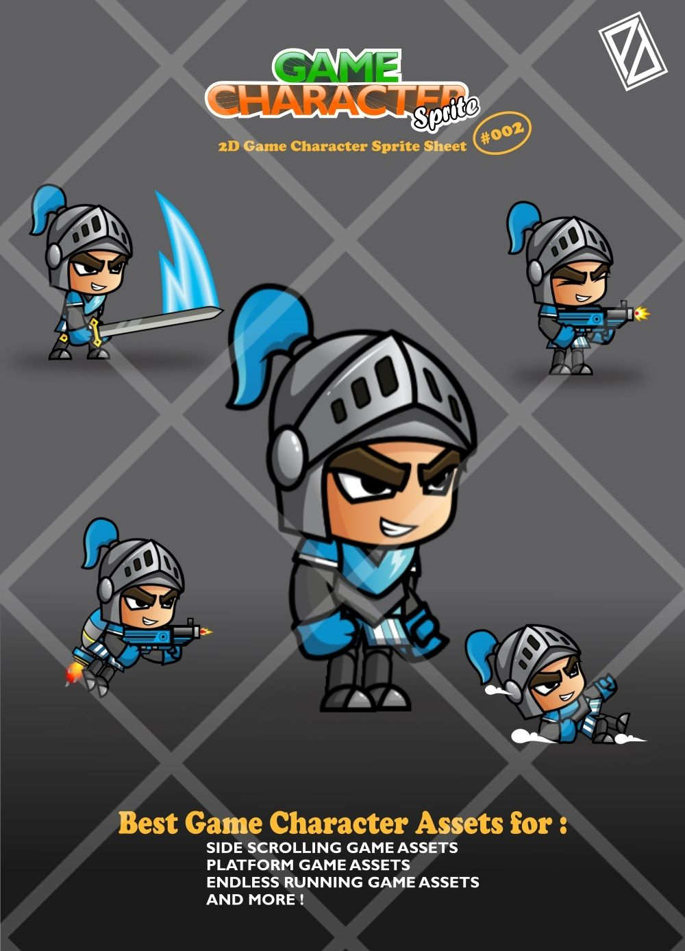 Blue Knight 2D Game Character Sprites Screenshot 1