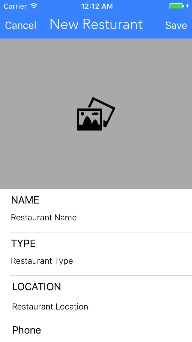 Restaurant Journal - iOS App Source Code Screenshot 2