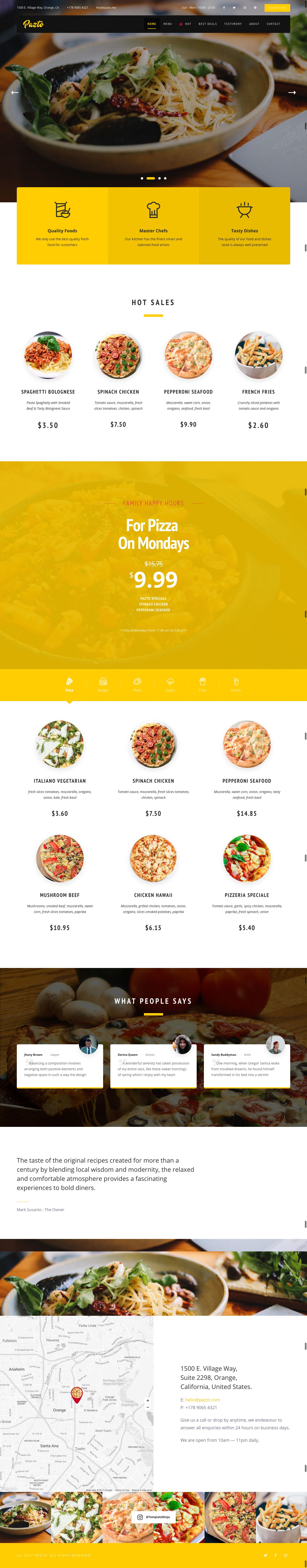 Pazto - Food And Restaurant HTML Template Screenshot 3