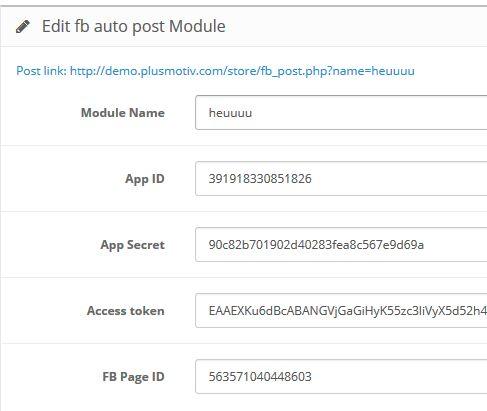 Facebook Auto Post - Opencart Module