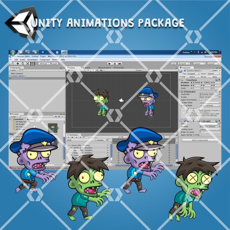 Zombie Pack Enemy 2D Game Character Sprite Screenshot 3