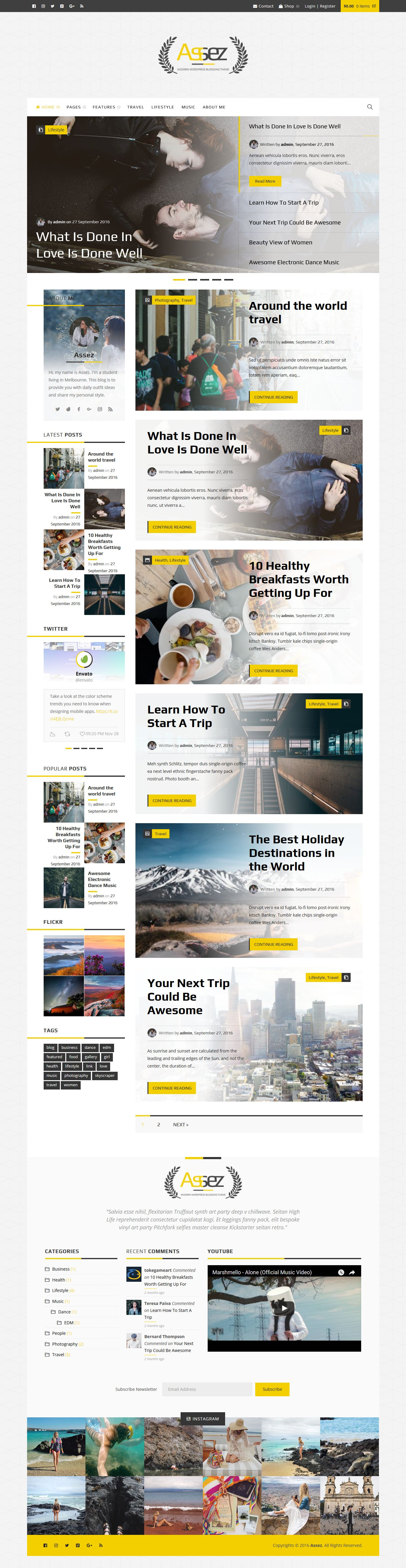 Assez - Modern WordPress Blogging Theme  Screenshot 1