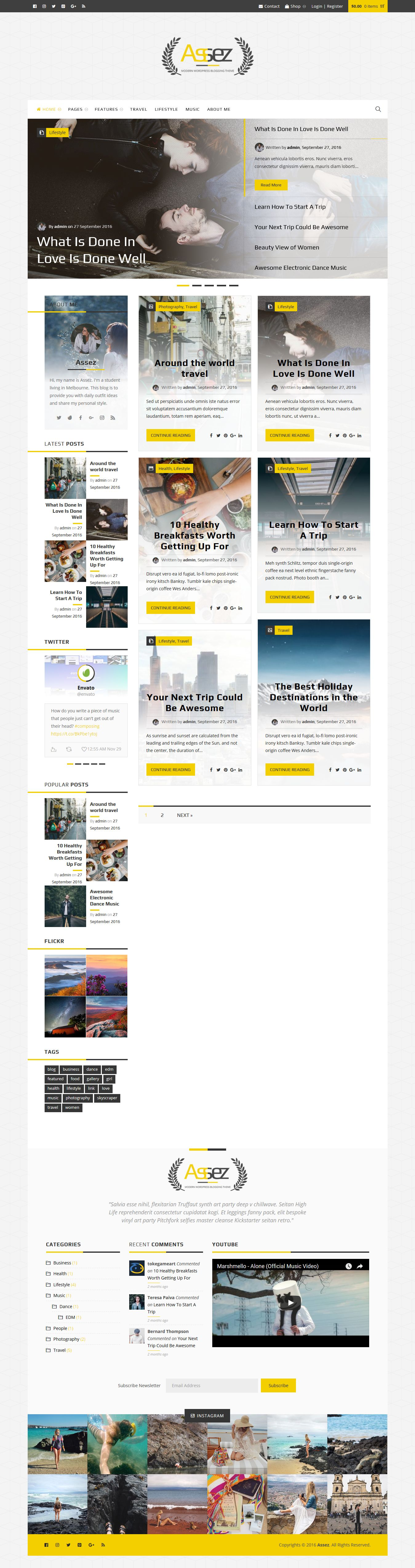 Assez - Modern WordPress Blogging Theme  Screenshot 3