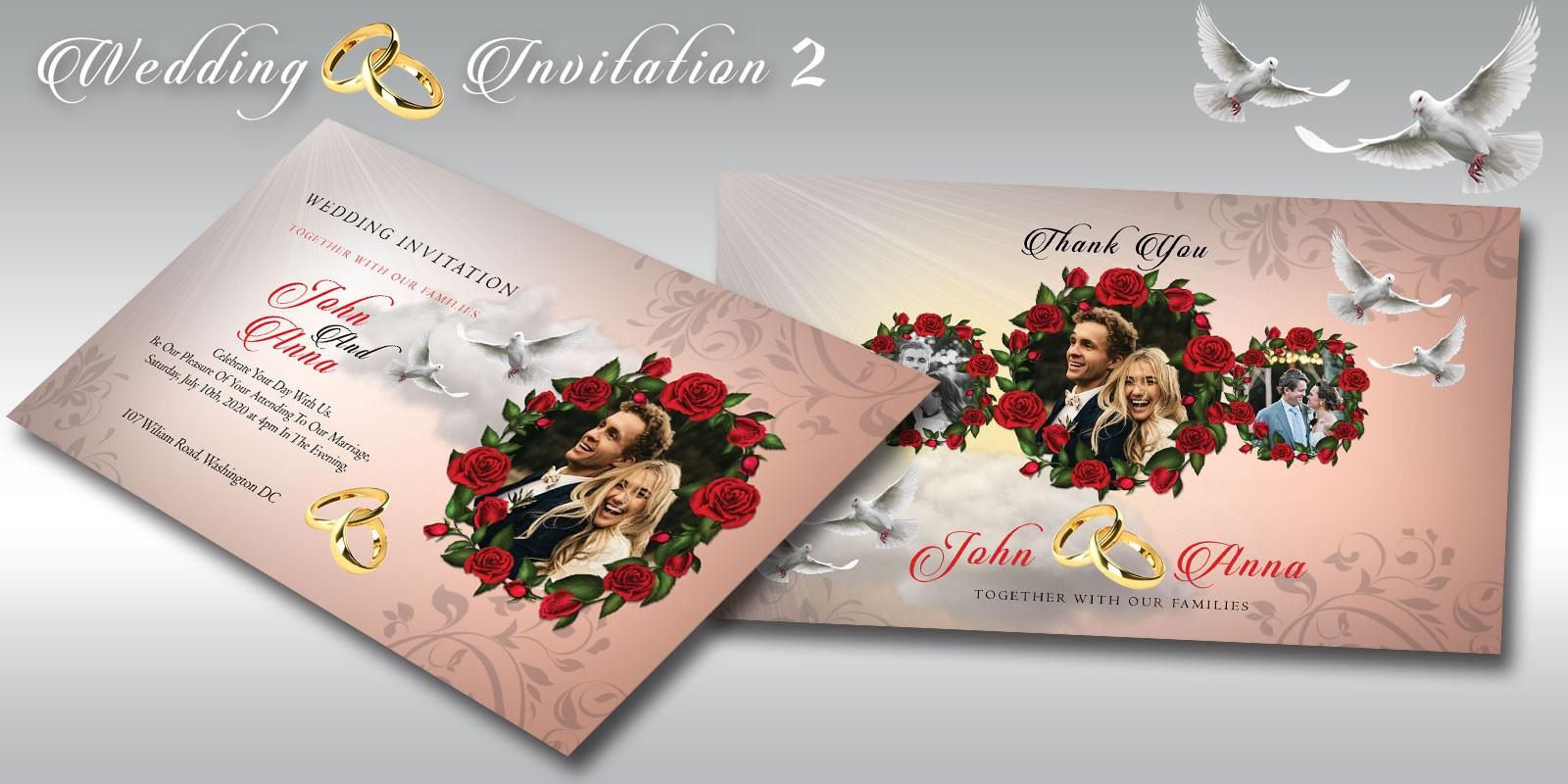 wedding invitation 2 flyer template miscellaneous print templates codester. Black Bedroom Furniture Sets. Home Design Ideas