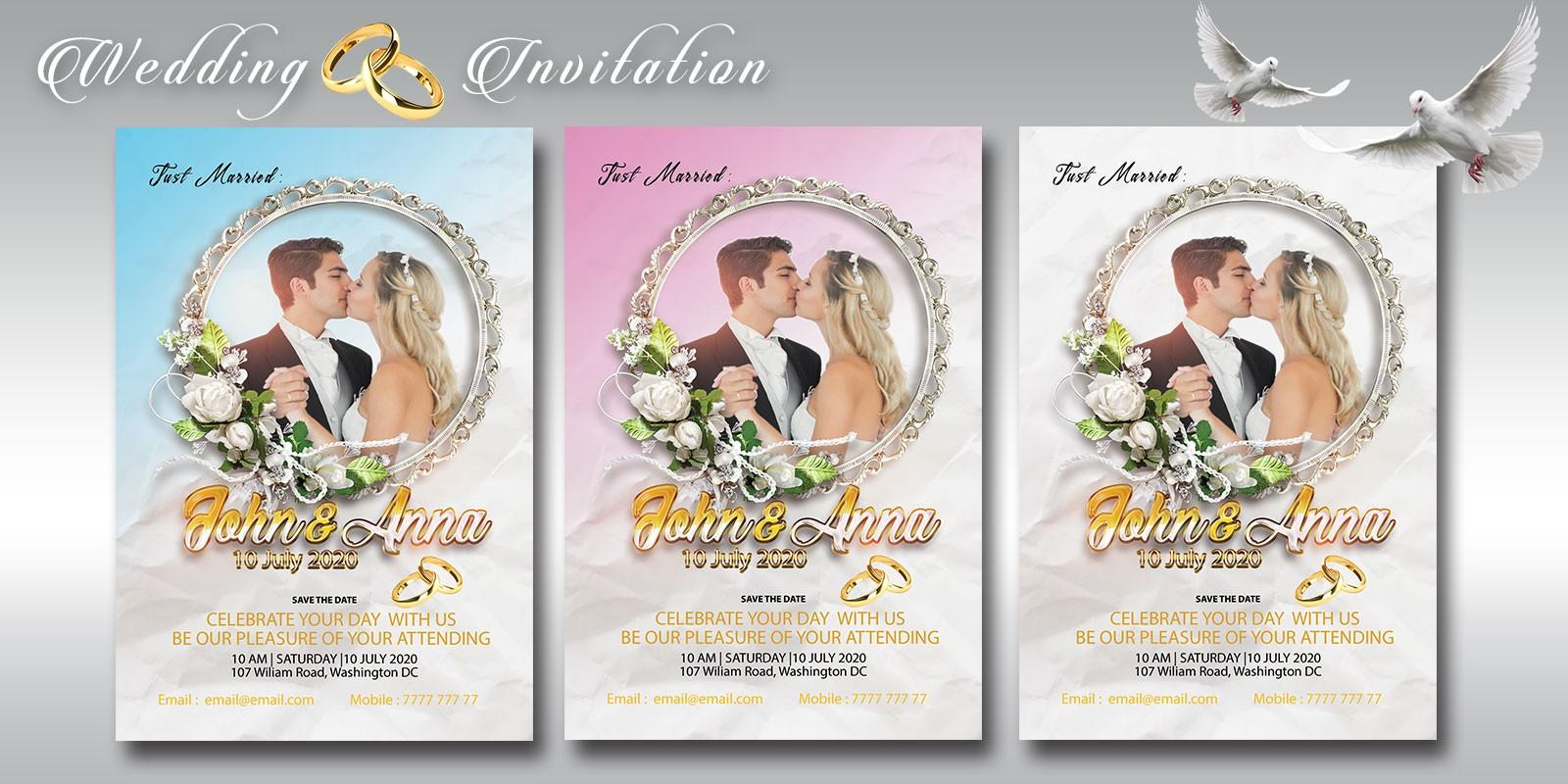 wedding invitation flyer miscellaneous print templates codester. Black Bedroom Furniture Sets. Home Design Ideas
