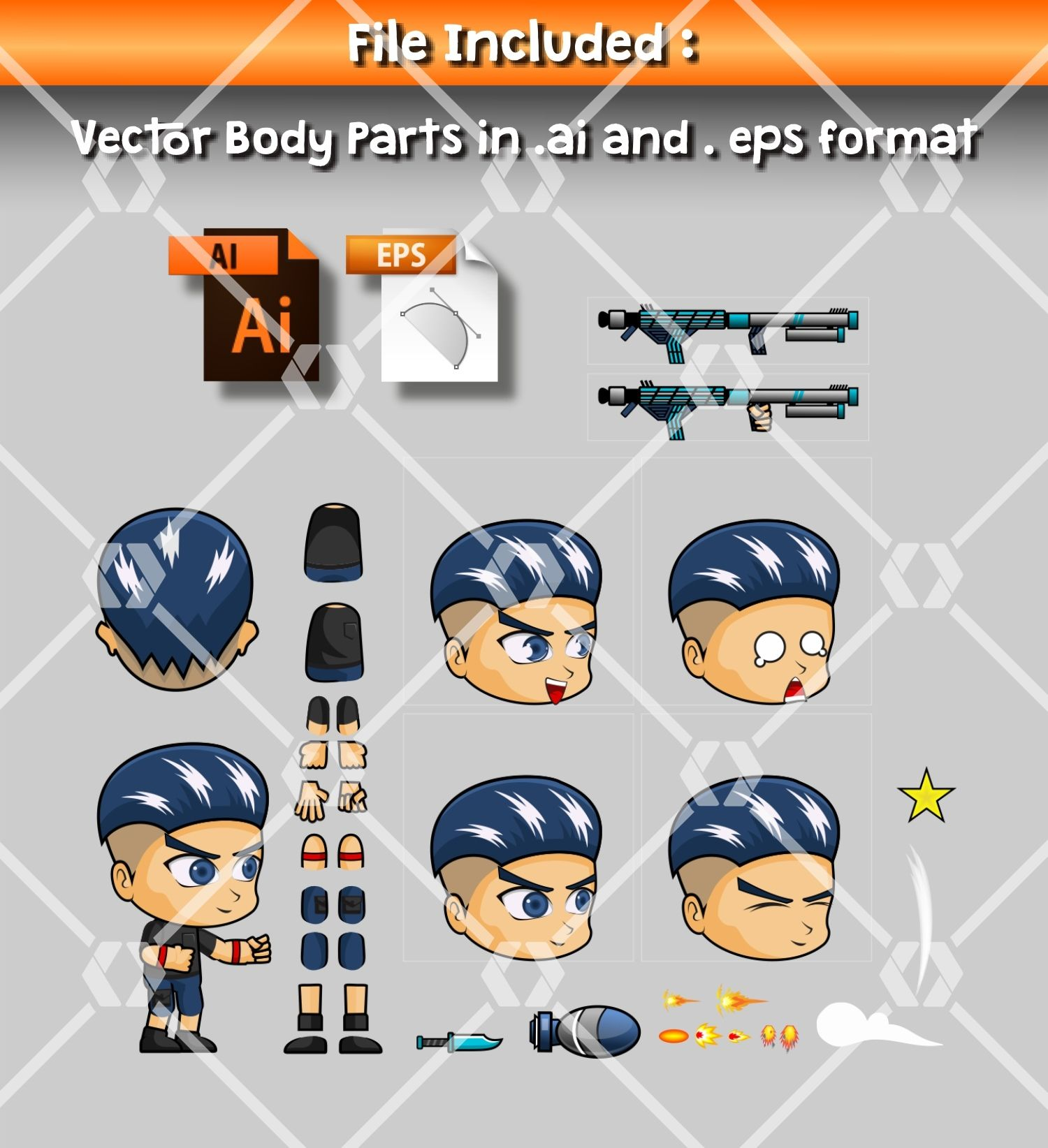 Aex - Boy 2D Game Character Sprite Screenshot 2