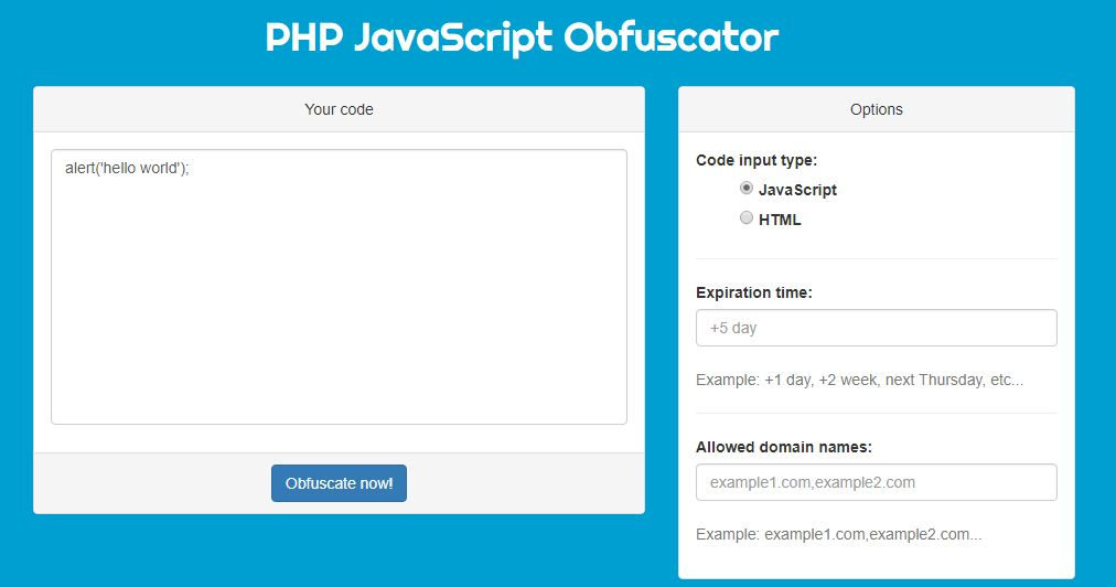 Hunter - PHP Javascript Obfuscator Screenshot 2