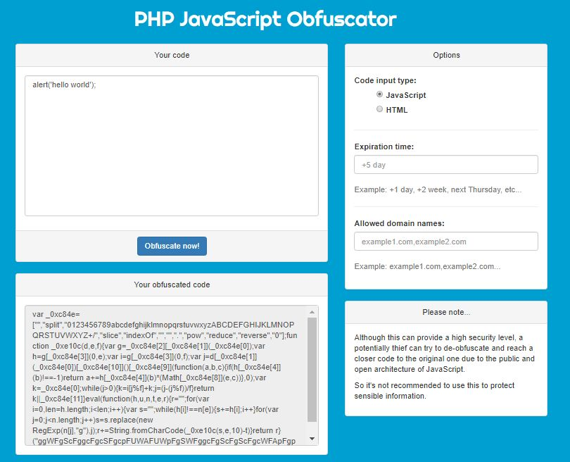 Hunter - PHP Javascript Obfuscator Screenshot 3