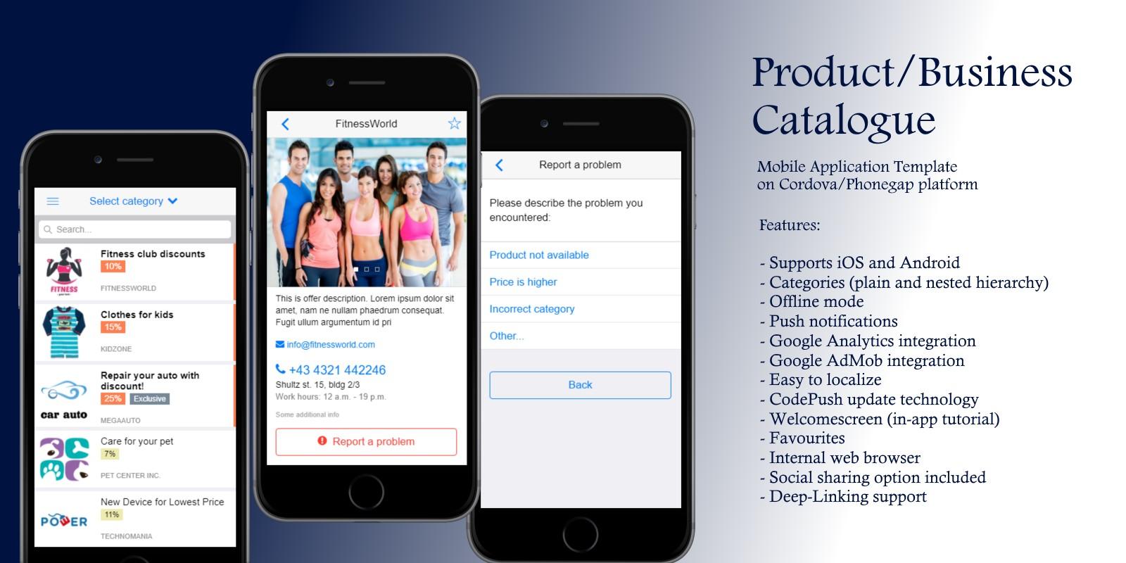 titanium app templates - product catalog cordova app template cordova app